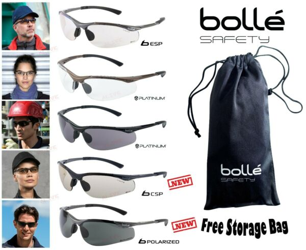 Bolle CONTOUR Safety Glasses Spectacles Anti-Fog Anti-Scratch FREE Storage Bag