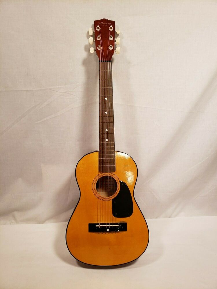 Vintage Harmony Acoustic Childs Guitar Model H0201 6 String 31 1 2 Inch Tall Ebay