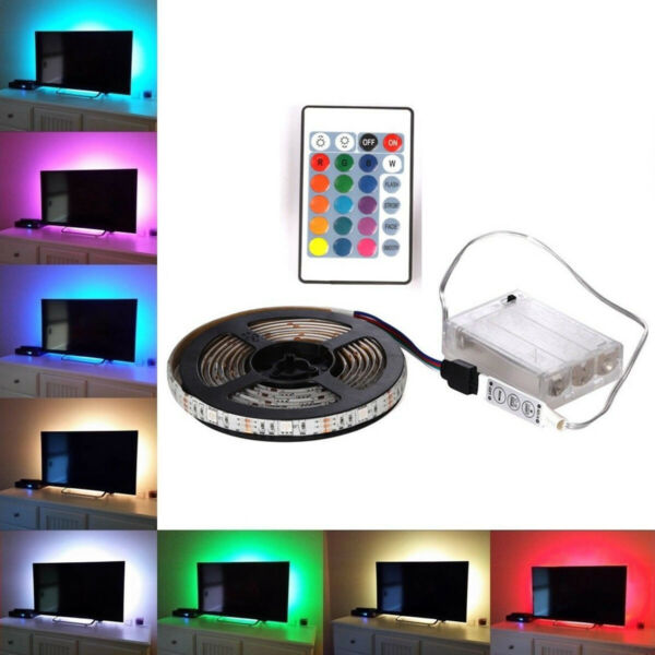 0,5 à 2 M 5050 RGB LED Strip Lights batterie télécommande TV Back  5V Multicolor