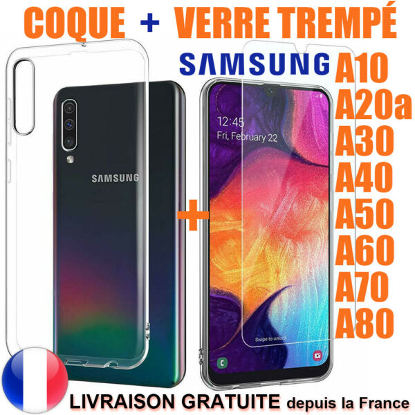 GALAXY SAMSUNG A10 A40 A50 A70 A20e A80 COQUE HOUSSE PROTECTION + VERRE TREMPE