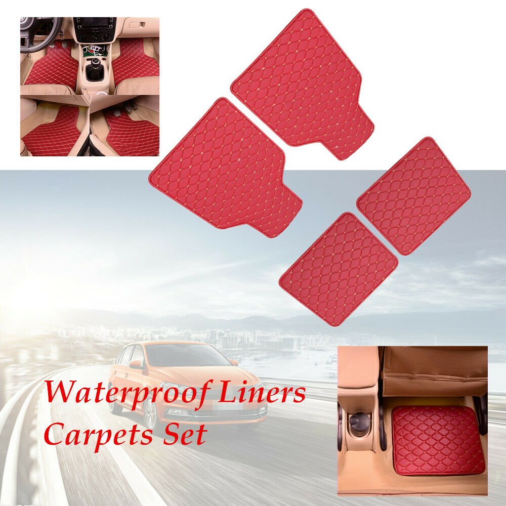 4 PCS Red Leather Car Floor Mats Quilted Waterproof Liners