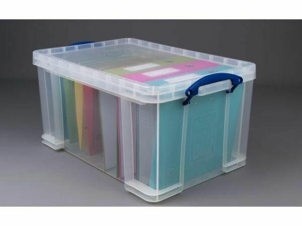 Really Useful Box Stackable Storage Box, 48 L, Clear, 600 x 400 x 310 mm +24h