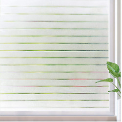 Rabbitgoo Frosted Window Film Privacy Stripe Static Cling Decorative for Home