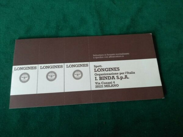 LONGINES 1970s RARE UNUSED BLANCK WATCH WARRANTY BOOKLET GARANZIA IN BIANCO