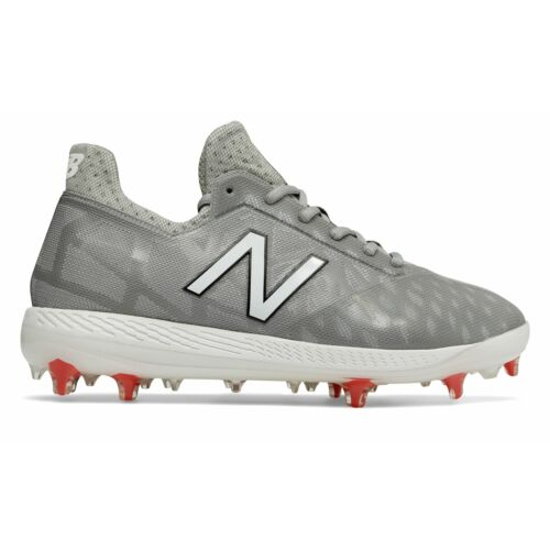 New Balance Low-Cut COMPv1 TPU Baseball Cleat Mens Shoes Grey with White & Red