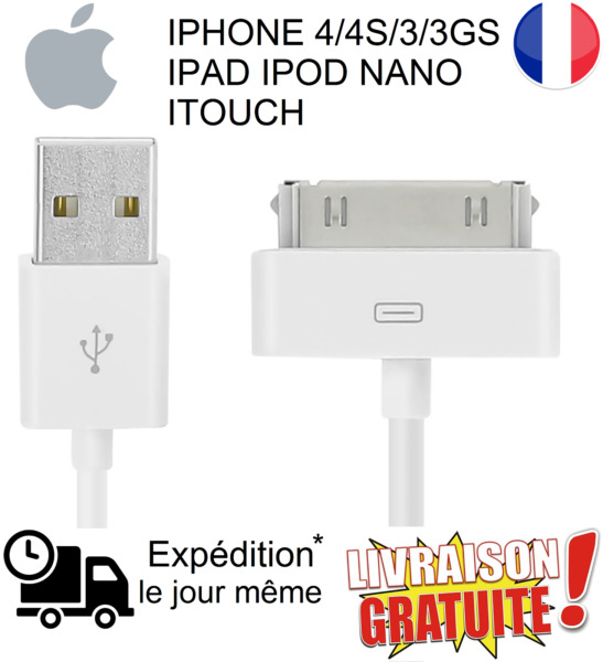 Câble USB chargeur IPHONE 4/4S/3/3GS IPAD IPOD NANO ITOUCH CHARGER DATA SYNC