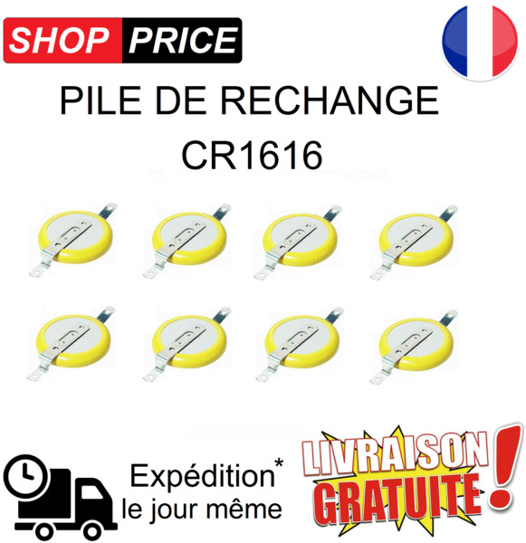 LOT 8 Pile de rechange CR1616 (Pokemon Rouge, Bleu, Jaune, Game Boy sauvegarde)
