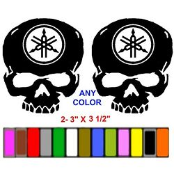 YAMAHA SKULL DECALS  ^^ANY COLOR^^  RACE MOTORCYCLE STICKERS
