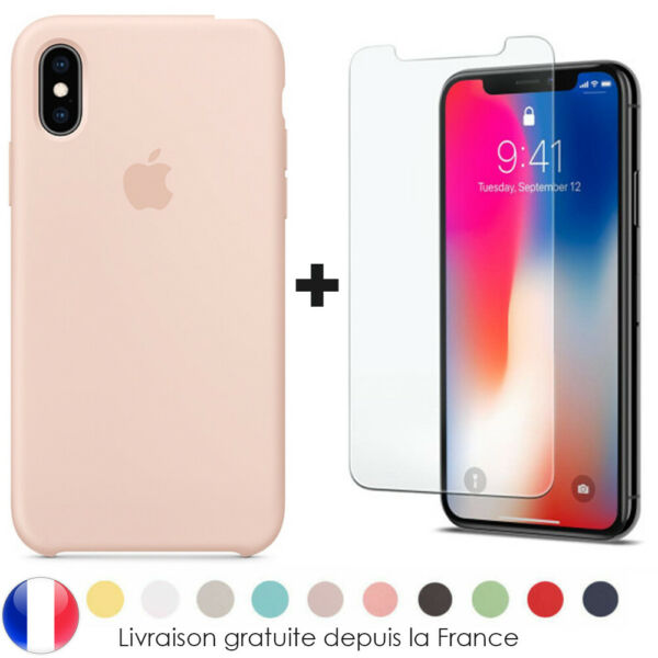 Cover Coque iPhone 6 7 8 Plus Xr Xs MAX X Slim Protection + Film Verre trempé