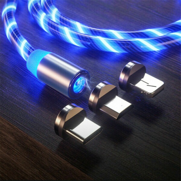 LED Glow Magnetic Data Charger Type C/8 Pin/Micro USB Cable Wire Cord For Phone