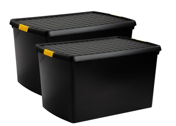 PACK OF 2 Large Plastic Storage Boxes with Lids Home Office Stackable Container