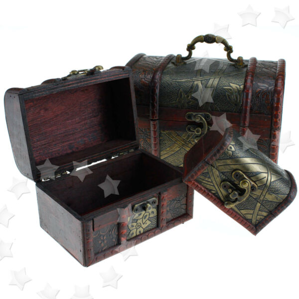 3 x Wooden Pirate Jewellery Storage Box Case Holder Treasure Chest Stand