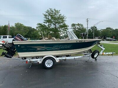 1998 Sylvan 1800 Eliminator 18' Aluminum Deep V with Evinrude 150 HP Outboard
