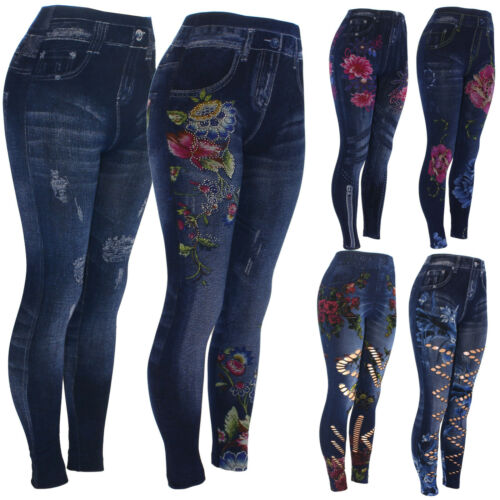 High Waist Womens Faux Denim Jean Leggings, Slim Stretch Pencil Jegging Print