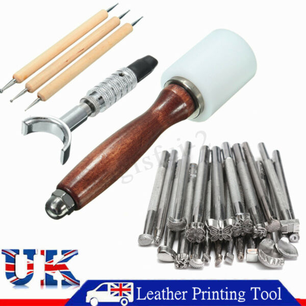 25PCS Stamping Hammer+Leather Saddle Tools Carving Leather Craft Stamps Set  @