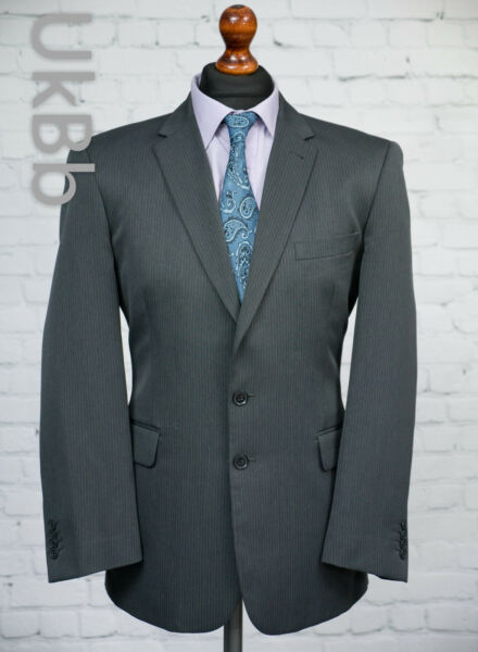 Taylor & Wright Grey Pinstripe Blazer Suit Jacket Single Breasted 40S