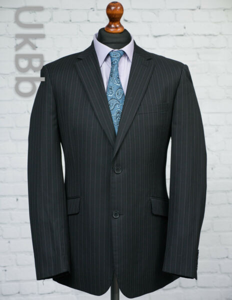 French Connection Charcoal Grey Pinstripe Blazer Suit Jacket Single Breasted 40R