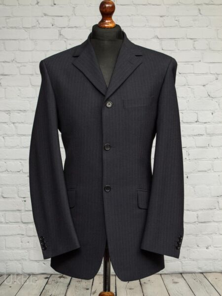 Remus Uomo Single Breasted Navy Blue Pinstripe Suit Jacket 38L