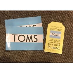 Set of 2 TOMS stickers decals-One for One-Charity blue stripe