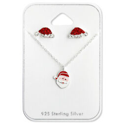 Sterling Silver Christmas Santa Claus Necklace & Hat Stud Earring Set Kids 2541