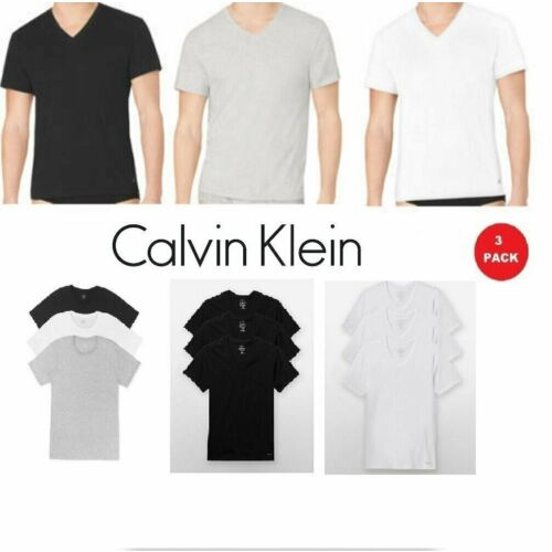 Calvin Klein Men's T Shirts 3 Pack 100% Cotton V-Neck Crew Neck Tees Undershirts