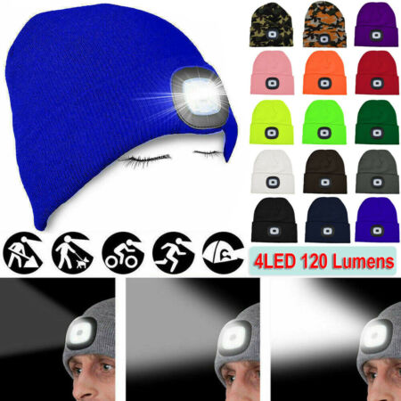 img-4 LED Beanie Hat With Torch Flash Light Camping Cycling Outdoor Gift One Size UK