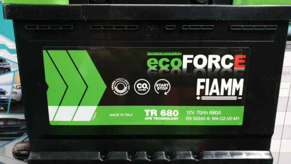 BATTERIA AUTO FIAMM  ECO FORCE AFB TECHNOLOGY TR 680 12V 70Ah 680A START & STOP