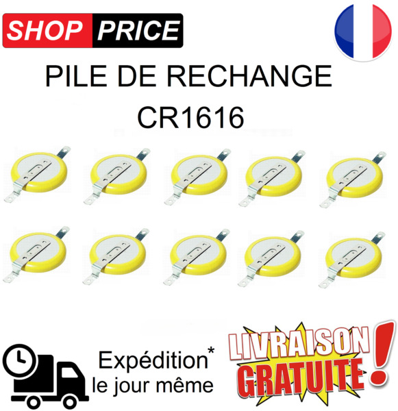 LOT 10 Pile de rechange CR1616 (Pokemon Rouge, Bleu, Jaune, Game Boy sauvegarde)