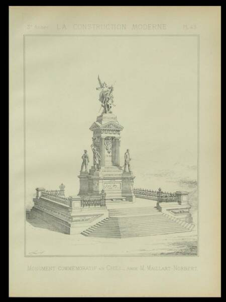 VALPARAISO, MONUMENT AUX HEROS - 1888 -2 PLANCHES ARCHITECTURE- MAILLART NORBERT