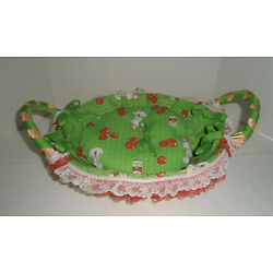 Campbell's Soup Design Woven Basket w/ Fabric Lace & Ribbon