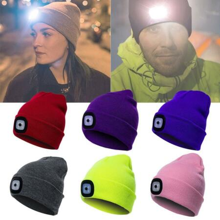 img-LED Light Unisex Running Knit Beanie Cap Headlamp Head Flashlight Fishing Hat