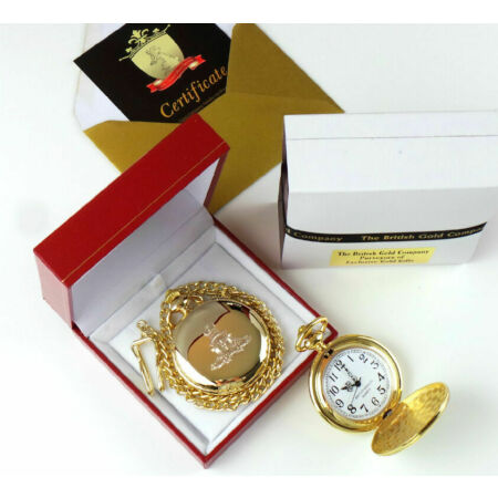 img-ROYAL ARTILLERY Military Army Crested 24K GOLD Clad POCKET WATCH Luxury Case