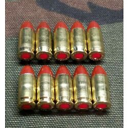 380 ACP SNAP CAPS  SET OF 10 (RED+BRASS) REAL WEIGHT!!!