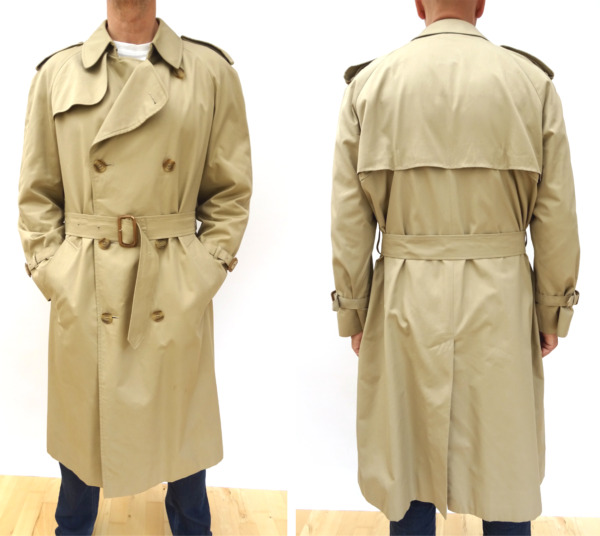 AQUASCUTUM Mens VINTAGE Double breasted TRENCH MAC OVERCOAT Size 42 Reg #4829