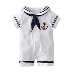 StylesILove Infant Toddler Baby Boy Cotton Sailor White Romper Outfit, 3M-18M