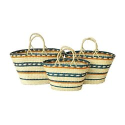 Woven Seagrass Basket Set with Handles Storage Bags Oval Picnic Gift Multi Color