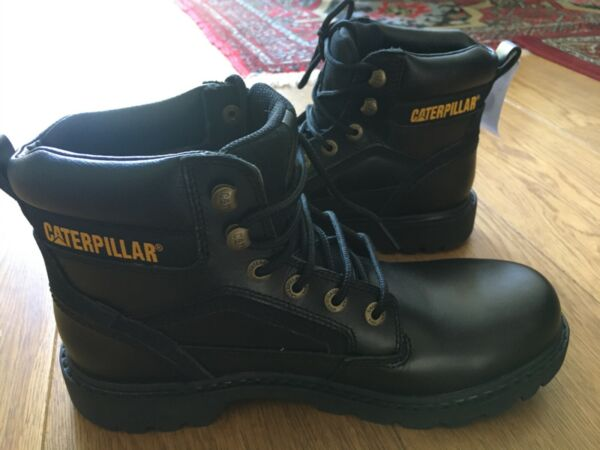 Men's Caterpillar Black Leather Boots Size Uk 9 Wide width New With Tags