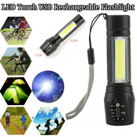 img-Waterproof Military LED Torch Rechargeable Flashlight USB Work Light Battery