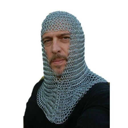 img-HALLOWEEN Zinc Chainmail Coif 16 SWG 8 mm Round Butted Knight Hood