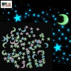 Glow In The Dark 50/100/200 ~ 3D Stars Half Moon Mix Color ~ Wall Decor 3 Sizes
