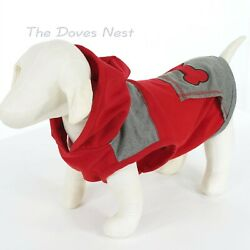 BOND & CO. Size LARGE Colorblock GRAY & RED DOG HOODIE SHIRT Pouch Pocket BONE