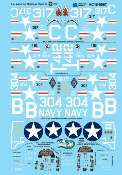 Royaume-UniMicroscale Decals 1/48 Vought F4U-4 corsair Assorti s Feuille #4#
