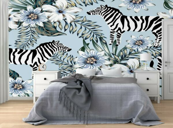 Irlande (Eire)Tropical Zebra Wall Mural Wallpaper Self Adhesive Peel & Stick FREE SHIPPING