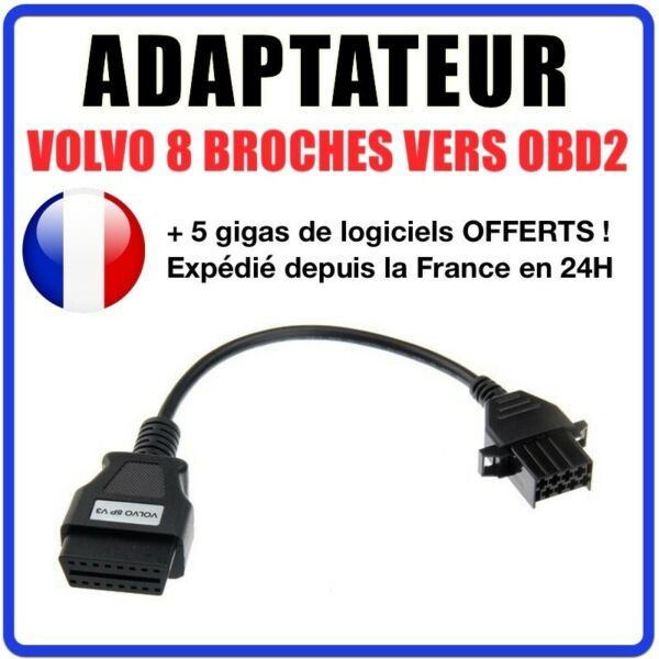 France diagnostic CABLE OBD2 8 broches VERS 16 pins - VOLVO