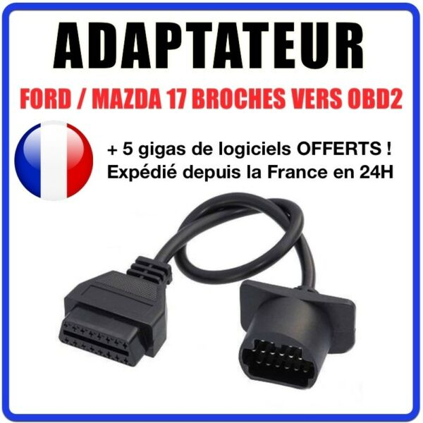 France diagnostic CABLE OBD2 17 broches VERS 16 pin - Compatible FORD