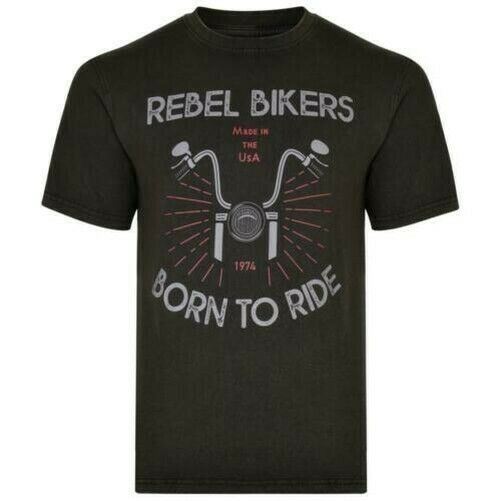 Royaume-UniKam Hommes Grand  Rebel Motards Délavé T-Shirt (5319)
