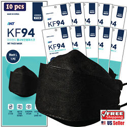 Kyпить [ 10 pcs ] KF94 Korean Black Face Mask  - 4 Layered,3D Ergonomic Design Mask на еВаy.соm