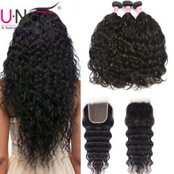 UNice 3 Bundles Water Wave Malaysian Human Hair Extensions With Lace Closure US
