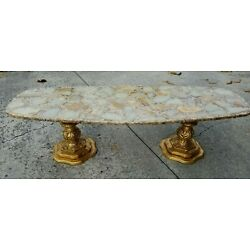 Kyпить Mid Century Hollywood Regency Onyx Gold Flake Coffee Table - Gold Finished Bases на еВаy.соm