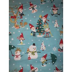 Kyпить Gnomes Christmas Cotton Fabric, Trees & Snow Flakes, Sold By The 1/2 Yard, на еВаy.соm